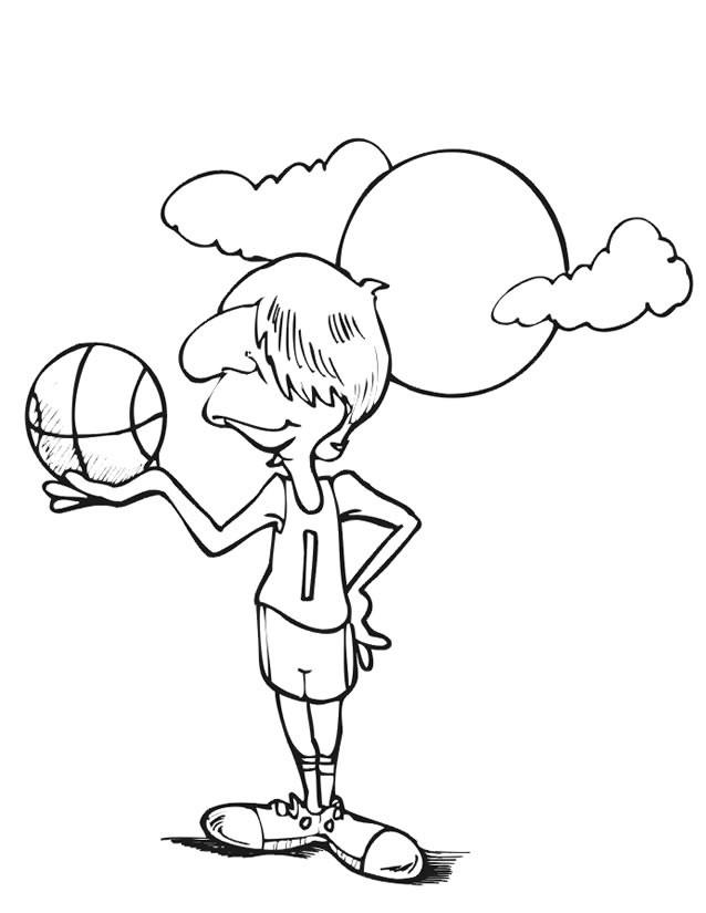 Coloriage et dessins gratuits Basketteur sous le soleil à imprimer