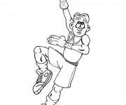 Coloriage Basketteur tire le ballon