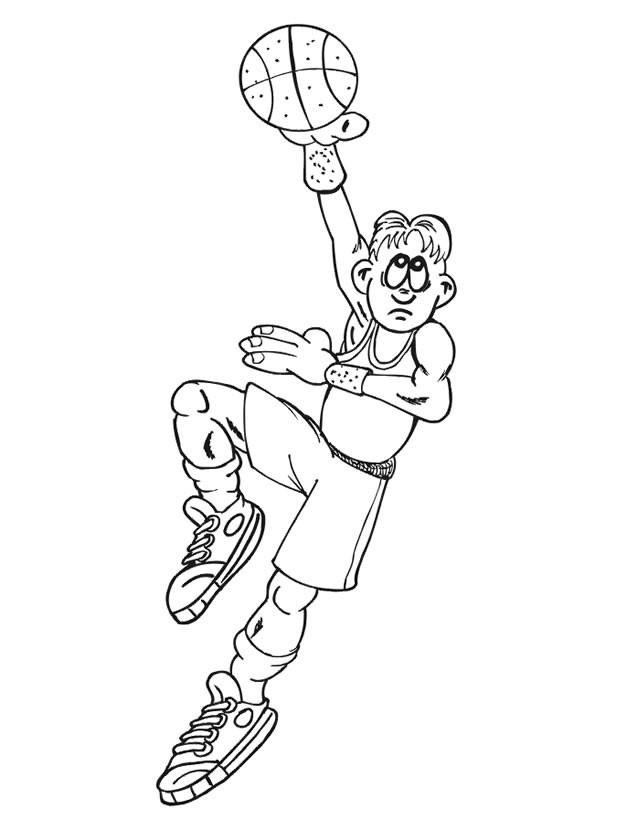 Coloriage et dessins gratuits Basketteur tire le ballon à imprimer