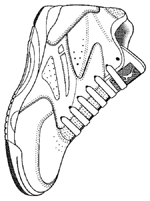 Coloriage et dessins gratuits Chaussure de Basketball stylisé à imprimer