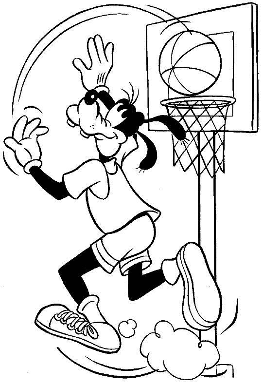 Coloriage et dessins gratuits Dingo Basketteur à imprimer