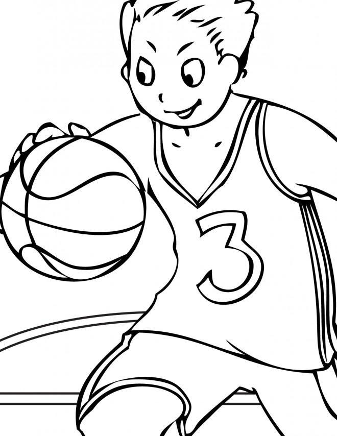 Coloriage et dessins gratuits Enfant Basketteur à imprimer
