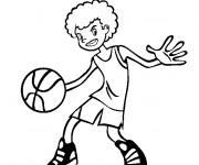 Coloriage Garcon qui controle le ballon de Basket