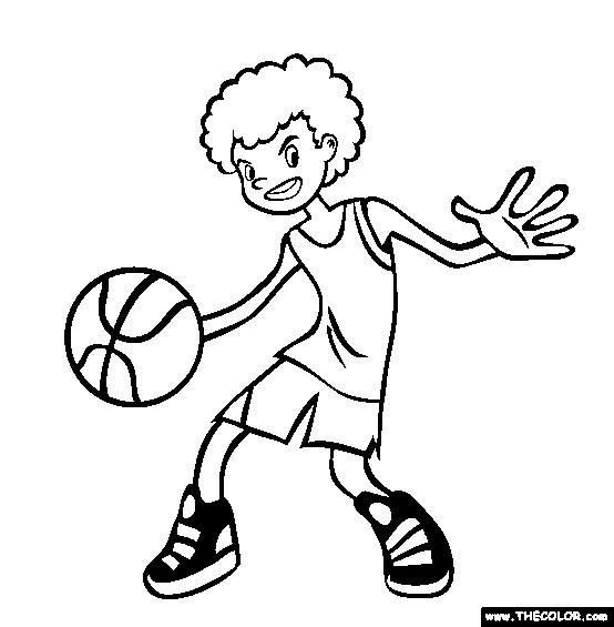 Coloriage et dessins gratuits Garcon qui controle le ballon de Basket à imprimer
