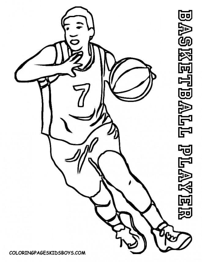 Coloriage et dessins gratuits Joueur Basket à imprimer