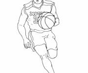 Coloriage Joueur de Basket en attaque