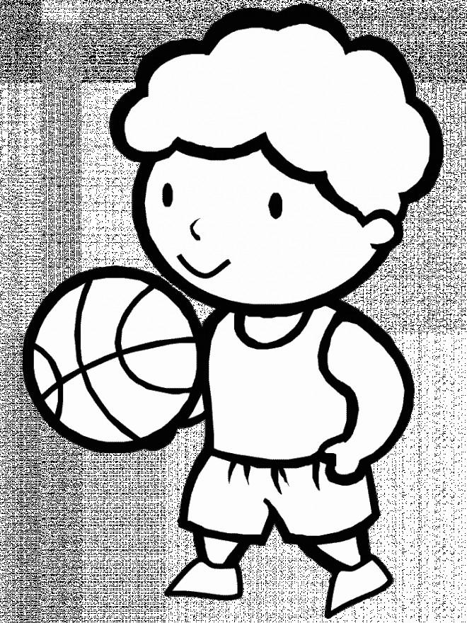 Coloriage et dessins gratuits Le petit Basketteur mignon à imprimer