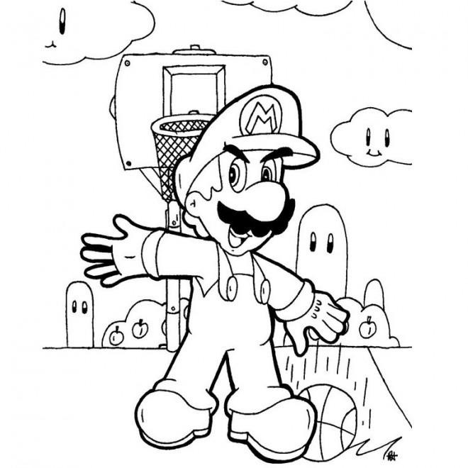Coloriage et dessins gratuits Mario Joue au Basketball à imprimer