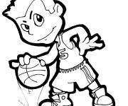 Coloriage Petit Basketteur vecteur