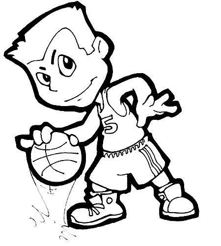 Coloriage et dessins gratuits Petit Basketteur vecteur à imprimer