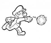 Coloriage Super Mario lance le ballon en feu