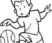 Coloriage Un garçon en dribblant le Ballon de Basket