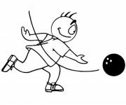 Coloriage Ballon Bowling et Joueur