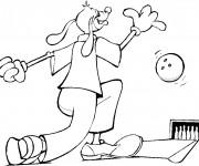 Coloriage et dessins gratuit Chien joue au Bowling à imprimer