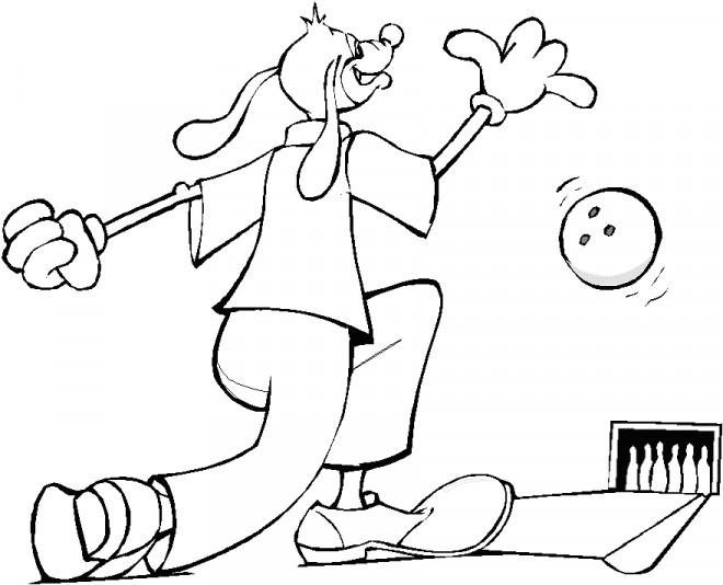 Coloriage et dessins gratuits Chien joue au Bowling à imprimer