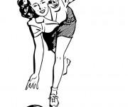 Coloriage Femme et Bowling