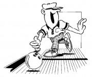 Coloriage et dessins gratuit Joueur de Bowling rigolo à imprimer