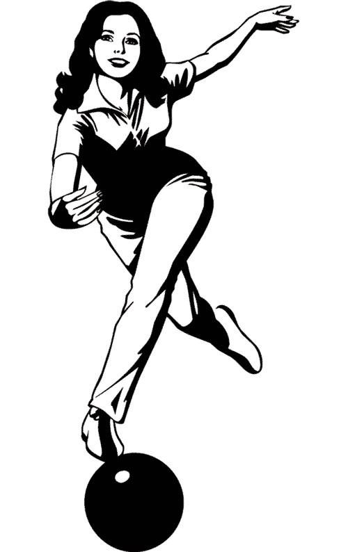 Coloriage et dessins gratuits Une femme joue au Bowling à imprimer
