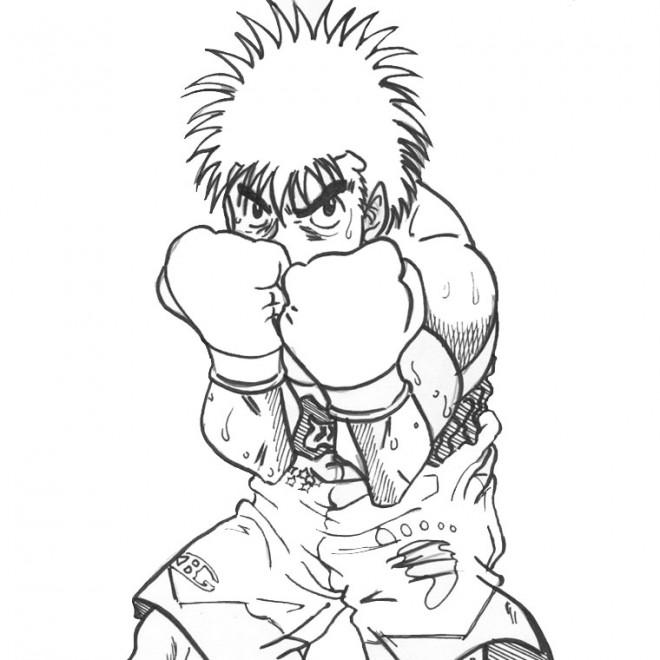 Coloriage boxeur en garde dessin gratuit imprimer - Gant de boxe dessin ...