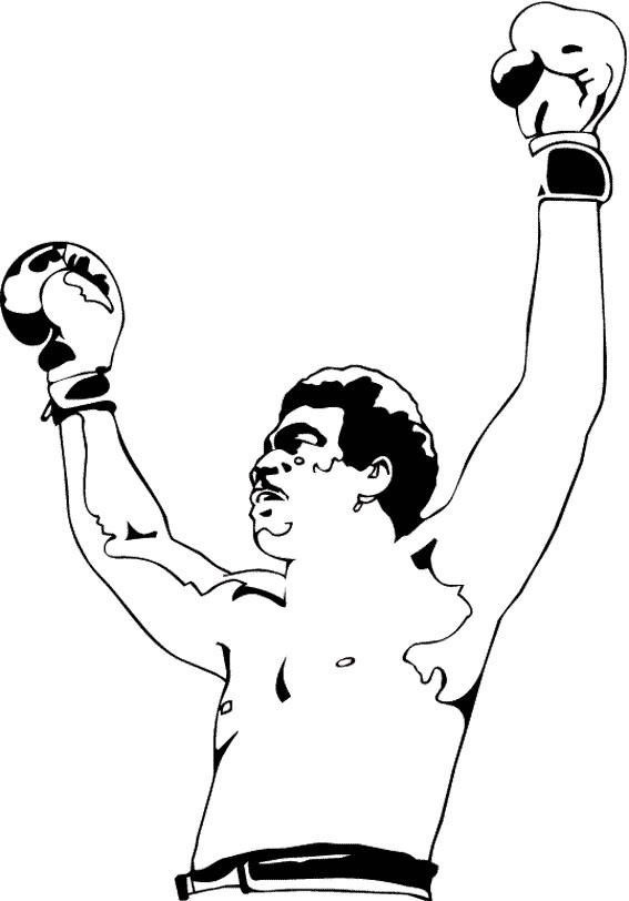Coloriage et dessins gratuits Boxeur et la victoire à imprimer