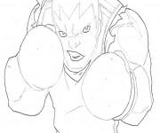 Coloriage et dessins gratuit Boxeur qui fait peur à imprimer
