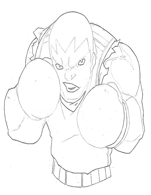 Coloriage et dessins gratuits Boxeur qui fait peur à imprimer