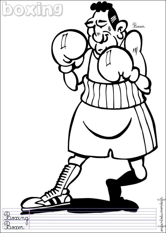 Coloriage et dessins gratuits Boxeur rigolo à imprimer