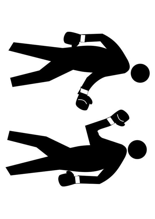 Coloriage et dessins gratuits Boxeurs en noir à imprimer