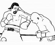 Coloriage et dessins gratuit Combat de Boxe à imprimer