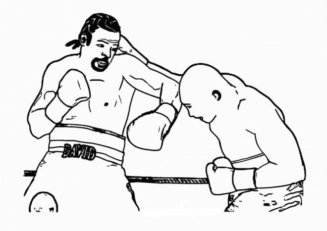 Coloriage et dessins gratuits Combat de Boxe à imprimer