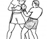 Coloriage et dessins gratuit Combat de Boxe au crayon à imprimer