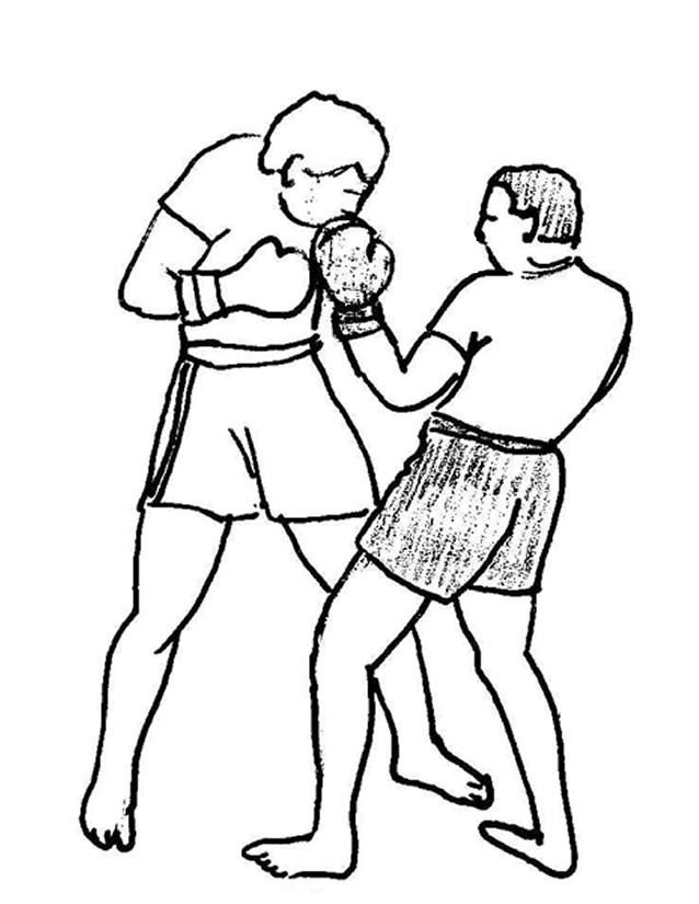 Coloriage et dessins gratuits Combat de Boxe au crayon à imprimer