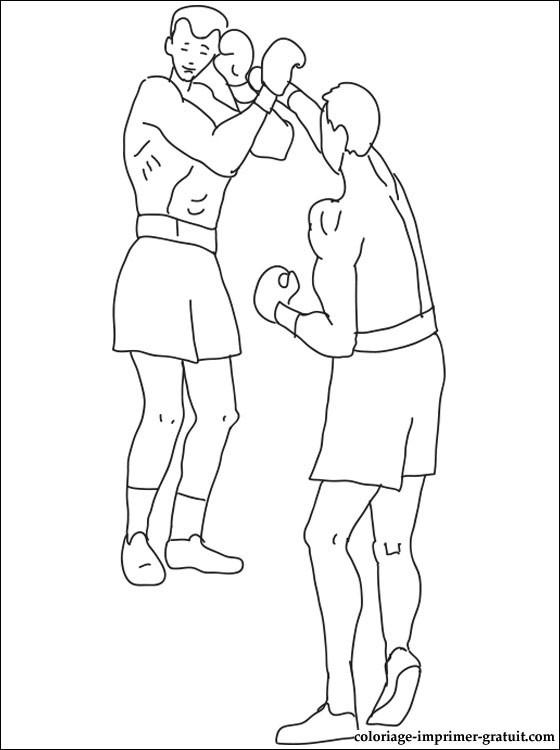 Coloriage et dessins gratuits Match de Boxe en noir à imprimer