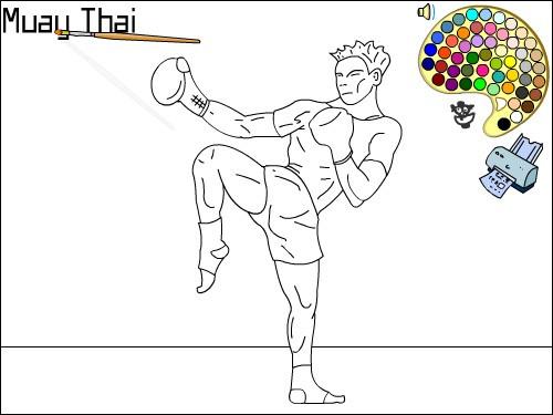 Coloriage et dessins gratuits Muay Thai Boxe à imprimer