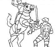 Coloriage Combat de Chevalier et Soldat