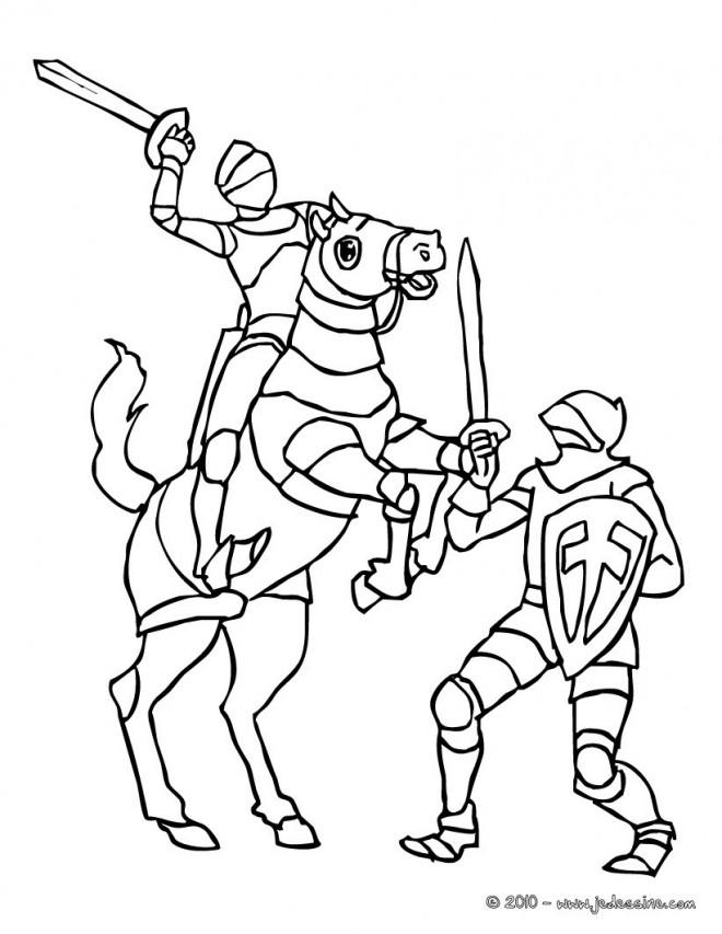 Coloriage combat de chevalier et soldat dessin gratuit imprimer - Dessins moyen age ...