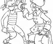 Coloriage et dessins gratuit Combat de pirates à imprimer