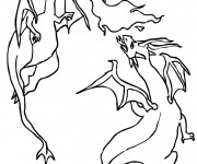 Coloriage Combat Dragon