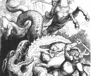 Coloriage et dessins gratuit Combat Dragon imaginaire à imprimer