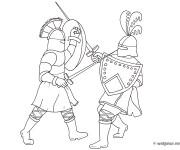 Coloriage Combat Guerriers et épées