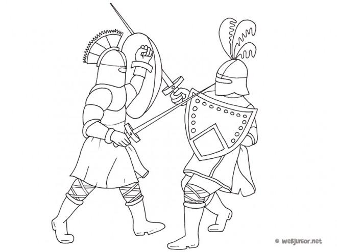 Coloriage Combat Guerriers Et Epees