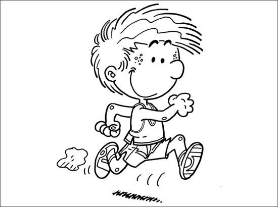 Coloriage et dessins gratuits Petit garçon en courant à imprimer