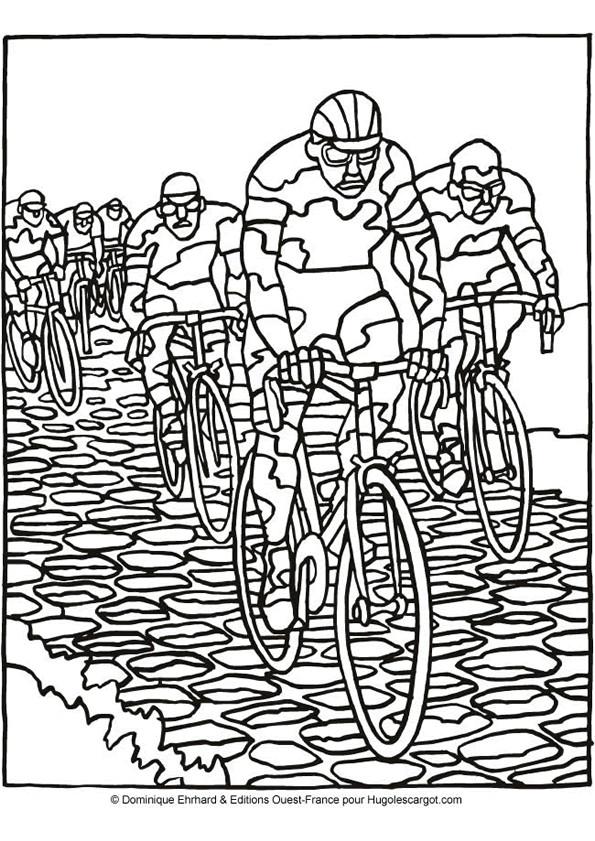 Coloriage cyclisme course dessin gratuit imprimer - Cycliste dessin ...