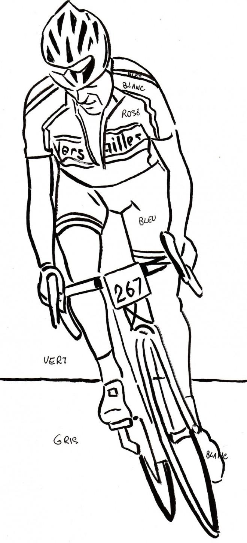 Coloriage Cyclisme au crayon dessin gratuit à imprimer