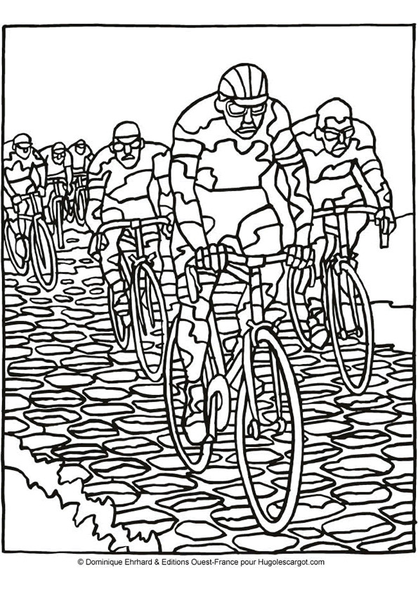 Coloriage cyclisme course dessin gratuit imprimer - Coloriage de cycliste ...