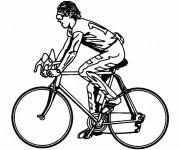 Coloriage et dessins gratuit Cyclisme en noir et blanc à imprimer