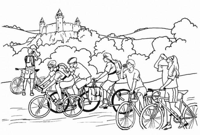 Coloriage cyclisme et nature dessin gratuit imprimer - Dessin cycliste ...