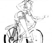 Coloriage et dessins gratuit Cycliste dessin animé à imprimer