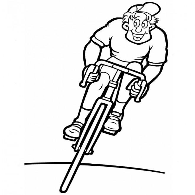 Coloriage et dessins gratuits Cycliste heureux à imprimer