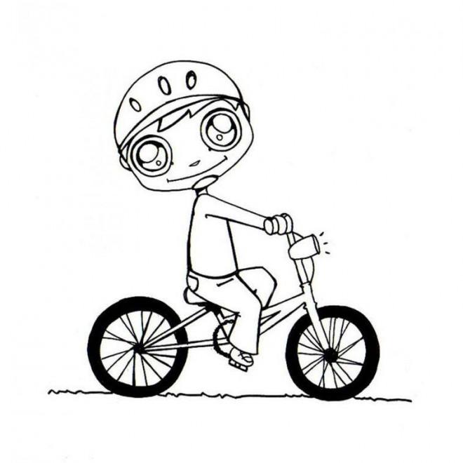 Coloriage et dessins gratuits Cycliste Kawaii à imprimer